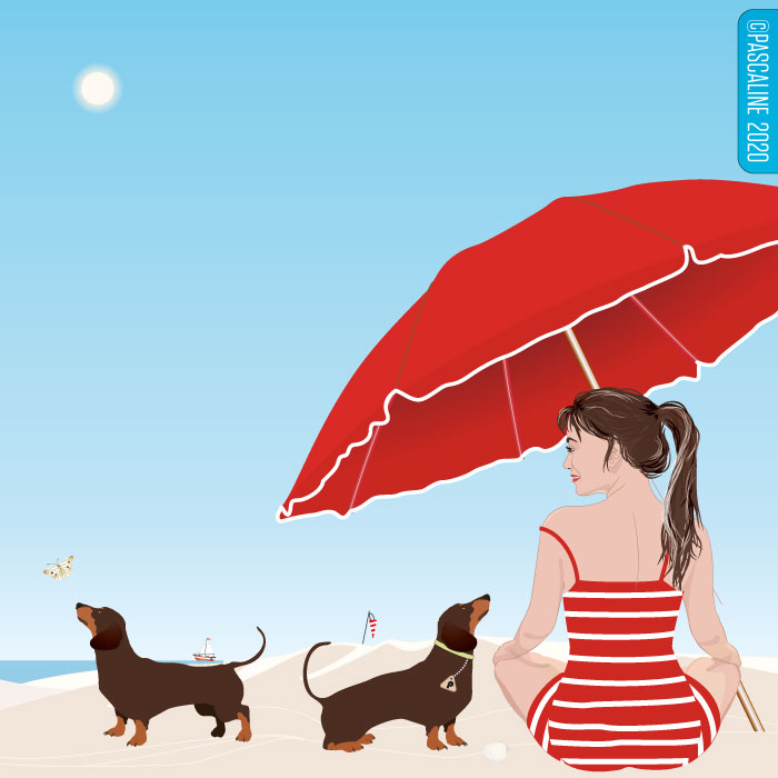 To the beach with a parasol